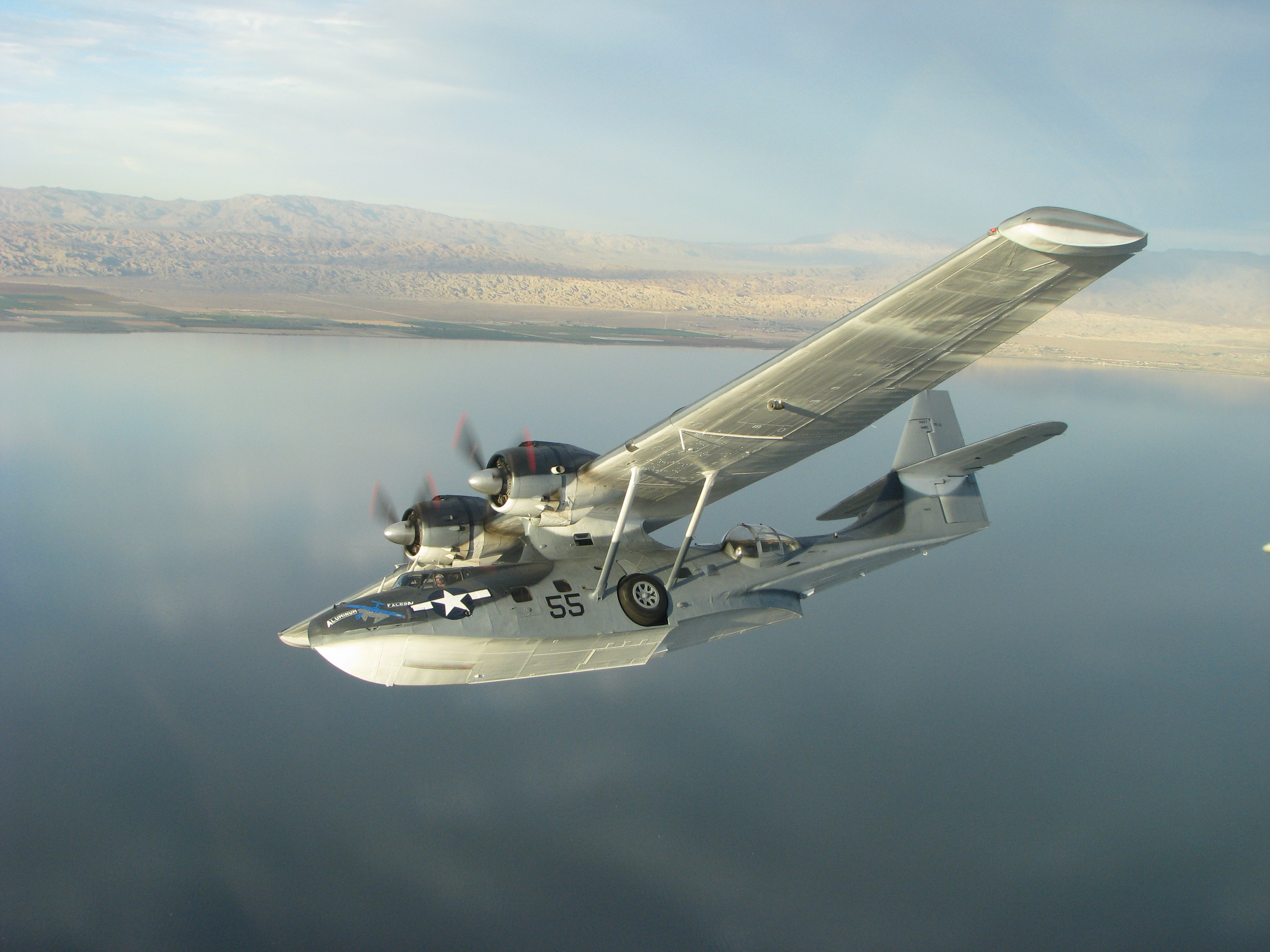 Consolidated pby catalina flying over the salton sea for The catalina